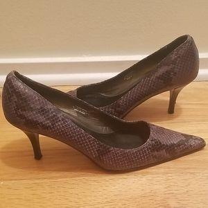 Leather Snakeskin Heels